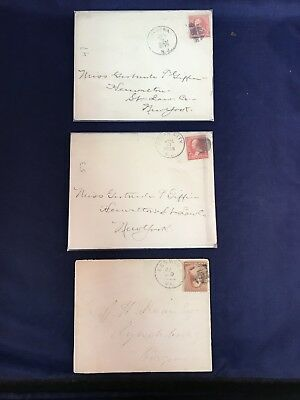 Antique Postal Stamped Envelopes 1886-1895 (Lot of 3)