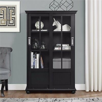Black Curio Sliding Glass Pane Windows Doors Display Case Bookcase Shelves NEW!