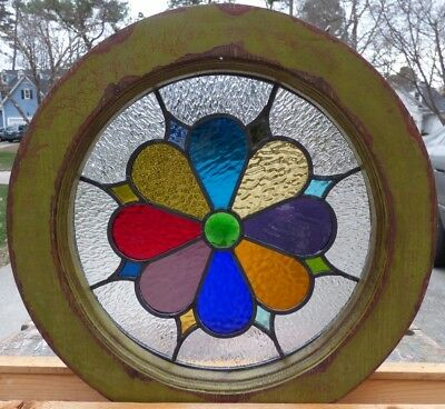 Victorian round jeweled flower leaded stained glass window 4