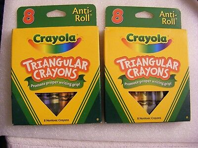 LOT OF 2 Crayola Anti-Roll Triangular Crayons, Assorted Colors 8 ea