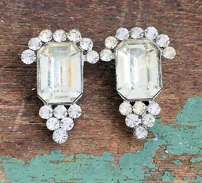 Antique Art Deco Two Pair of clear rhinestone Matching Fur Clips