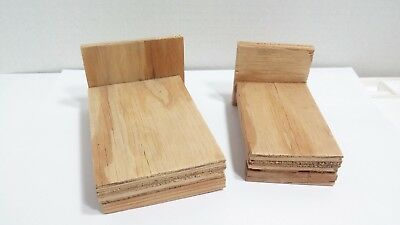 Two Vintage Handmade Dollhouse Beds Simple Rough Wood Frames
