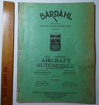 RARE 1940s Bardahl Oil - Aircraft & Automobile Advertising Dealer Book - Letters
