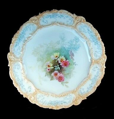 Rare Antique Royal Doulton Burslem Victorian Hand Painted Flowers Cabinet Plate!