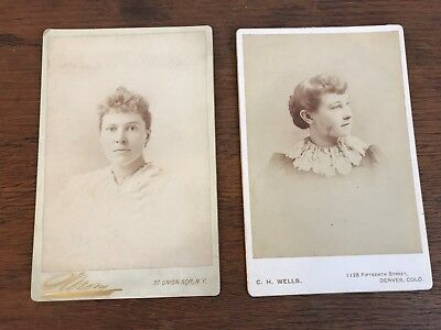 Lot of 2 Victorian Antique Black & White Cabinet Card Photos of Beautiful Women
