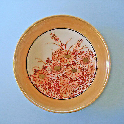 VINTAGE PIN DISH JAPAN PEACH LUSTRE WARE Miniature Plate Hand Painted Floral