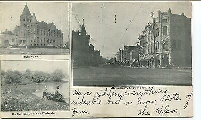 3 Views of 1906 Logansport: High School, Broadway & Wabash, VGCond, Used