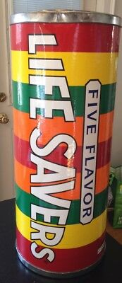 "Vintage 1996 LIFE SAVERS Advertising Tin Container Bin  25"" Display FIVE FLAVORS"