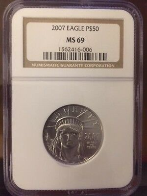 2007 MS69 $50 1/2 Ounce Platinum American Eagle NGC 006