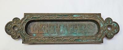 "Antique Heavy Bronze Brass LETTERS Mail Slot  - 7"" x 1 7/8"" - Old Patina"