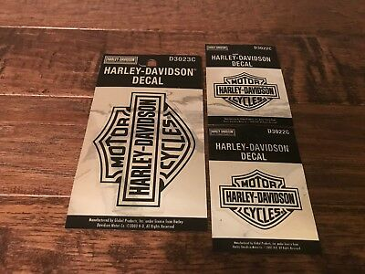 """(3) 2003 Global Products """"HARLEY-DAVIDSON MOTOR CYCLES"""" Decal Stickers Lot"""
