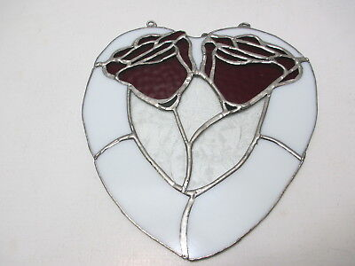 """Beautiful Hand Crafted Stained Leaded Glass Sun Catcher Heart w Red Roses 8"""" T"""
