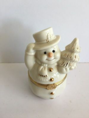 """Lenox Treasures """"The Snowman's Surprise Box"""" Hinged Box 24k Gold  First Issue"""