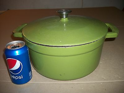 "Vintage Large 11"" Inch Dutch Oven/Pot Cast Iron Green Enamel"