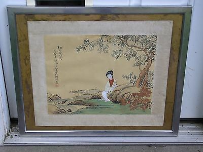 Japanese Painting on Silk with Geisha Woman Writing with  Japan Landscape Art