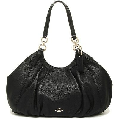 NWT $375 Coach F12155 Lily Shoulder Bag In Refined Natural Pebble Leather Black