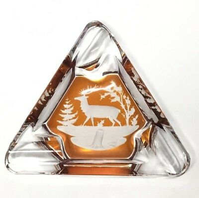 Vintage Bohemian Czech Cut To Clear Amber Glass Deer Elk Ashtray