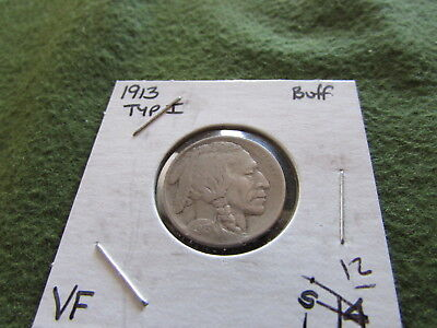 1913 Type I Buffalo Nickel Indian Head Philadelpia Mint 5 Cent Bison Coin Mound