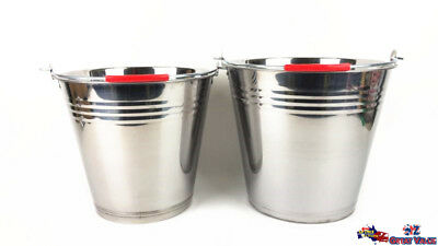 10L / 12L Stainless Steel Bucket w Handle Silver Ice Punch Wine Beer Cooler