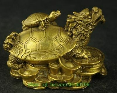 Old China Handwork Brass Carving Dragon Turtle Rare Statue