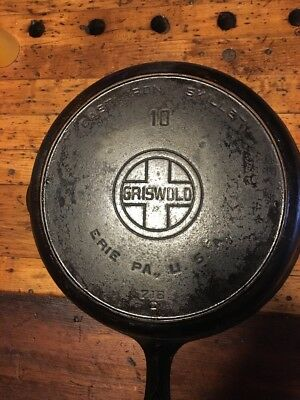 Vintage Griswold Cast Iron # 10 Large Logo Skillet with Heat Ring p/n 716 C