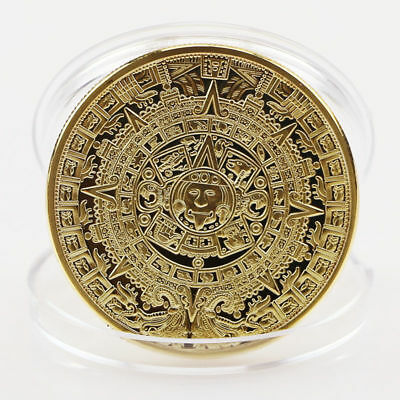 Golden Mayan Aztec Calendar Souvenir Commemorative Coin Collection Gift Art
