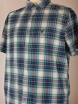 Vintage Fit Mens Green Blue White Check Short Sleeve Casual Shirt Size XL