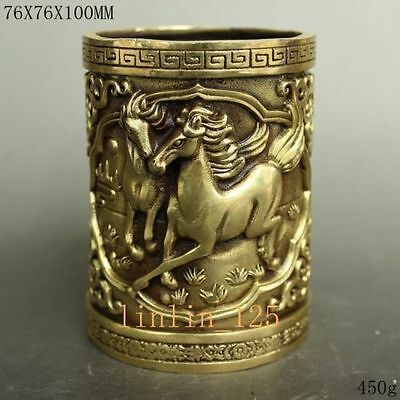 Chinese old hand-carved copper exquisite Win instant success horse Brush pots