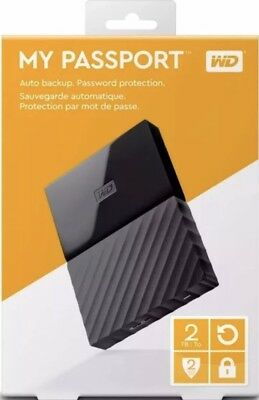 WD Western Digital My Passport 2TB 3.0 (3.1 Gen 1) 2000GB Hard Drive-Black New