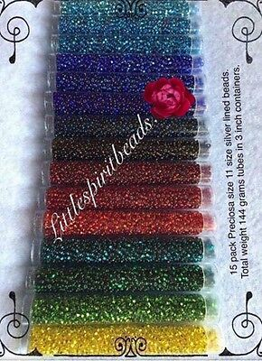 Presiosa seed beads size 11/0. 15 pack color set