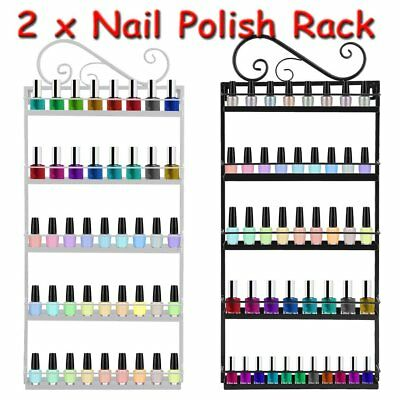 2PC 5 Tier Metal Wall Mounted Nail Polish Rack Organizer Display Holder Shelf UK