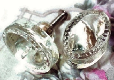 Vintage Style Glass Cabinet Drawer Knob Oval Set, Of 6