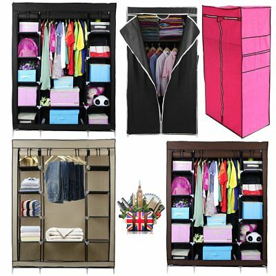 Double Triple Canvas Effect Wardrobe Clothes Cupboard Hanging Rail Storage MR