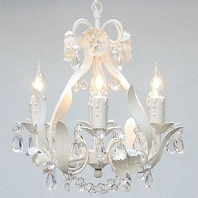 New Small White Chandelier Crystal 4 Light Fixture Hanging Lighting Iron Pendant