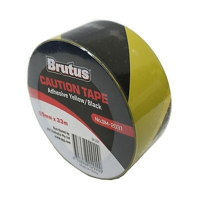 Brutus YELLOW & BLACK CAUTION TAPE 50mmx33m Indoor & Outdoor Use,Water Resistant