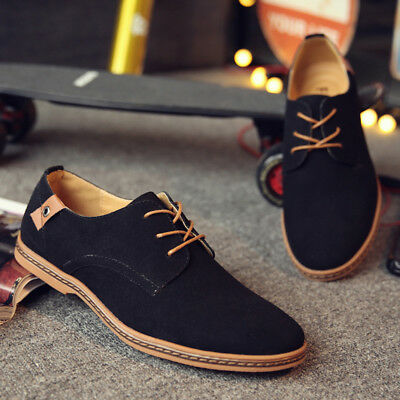 Men's Suede Business Classic Oxfords Leather Shoes Casual Dress Loafers Lace Up