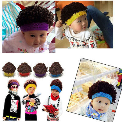 Kids Baby Winter Knitted Warm Funny Wig Wigs Beanie Hats Cap Outdoor Headwear
