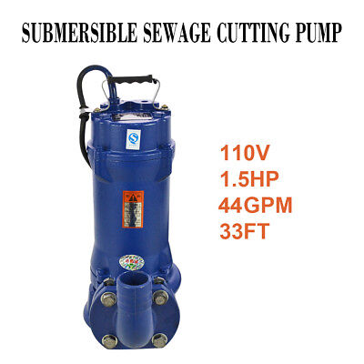 1.5HP Industrial Sewage Cutter Grinder Cast iron Submersible Sump Pump 44GPM
