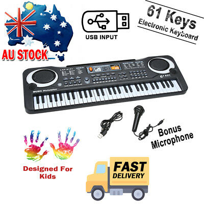 USB 61 Key Keyboard Electric Digital Piano Kid Beginner Organ Speaker System AU