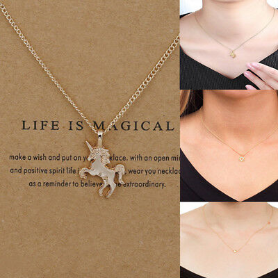 Women Unicorn Necklace Pendant Gold Clavicle Chain Choker Jewelry Valentine Gift