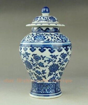 Chinese old Antique style Blue and white porcelain pot Qianlong Mark 将军罐