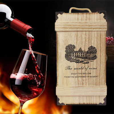 Natural Wooden Dual Wine Box Space Bottle Carrier Case Valentines Xmas Present.