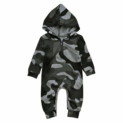 Newborn Infant Baby Boy Kids Camo Hooded Romper Jumpsuit Bodysuit Clothes Outfit