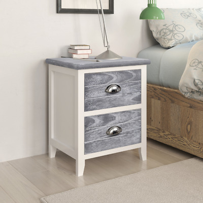 Set of 2 Bedside Cabinet Bedroom Table Telephone Stands 2 Drawers Night Stands