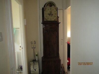 A Mahogany Grandfather Long case Clock 8 Day Rolling Moon Movement