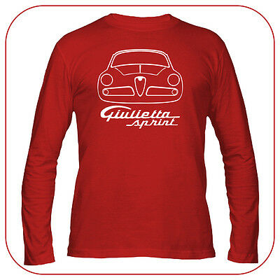T-Shirt Alfa Romeo Giulietta Sprint Old Fashion Motor Italian Car Red Long