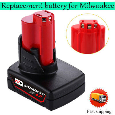 12 Volt Milwaukee 48-11-2440 M12 XC 4.0Ah Red Lithium Ion Battery Fast shipping
