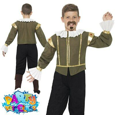 Child Shakespeare Costume Boys Historical Poet Book Day Week Fancy Dress Outfit
