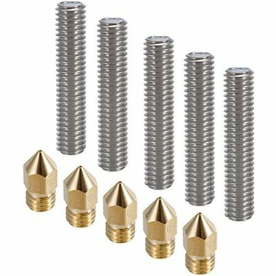 5pcs 3D Printer Extruders 30MM Length 1.75mm Tube And 0.4mm Brass Nozzle Heads