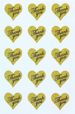 """Heart Stickers Thank You In Gold Glitter - Heart Shaped Labels 1.5"""" X1.75"""" - 150"""